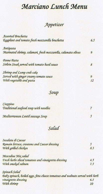 Marciano mediterranean italian restaurant menu for Mediterranean restaurant menu