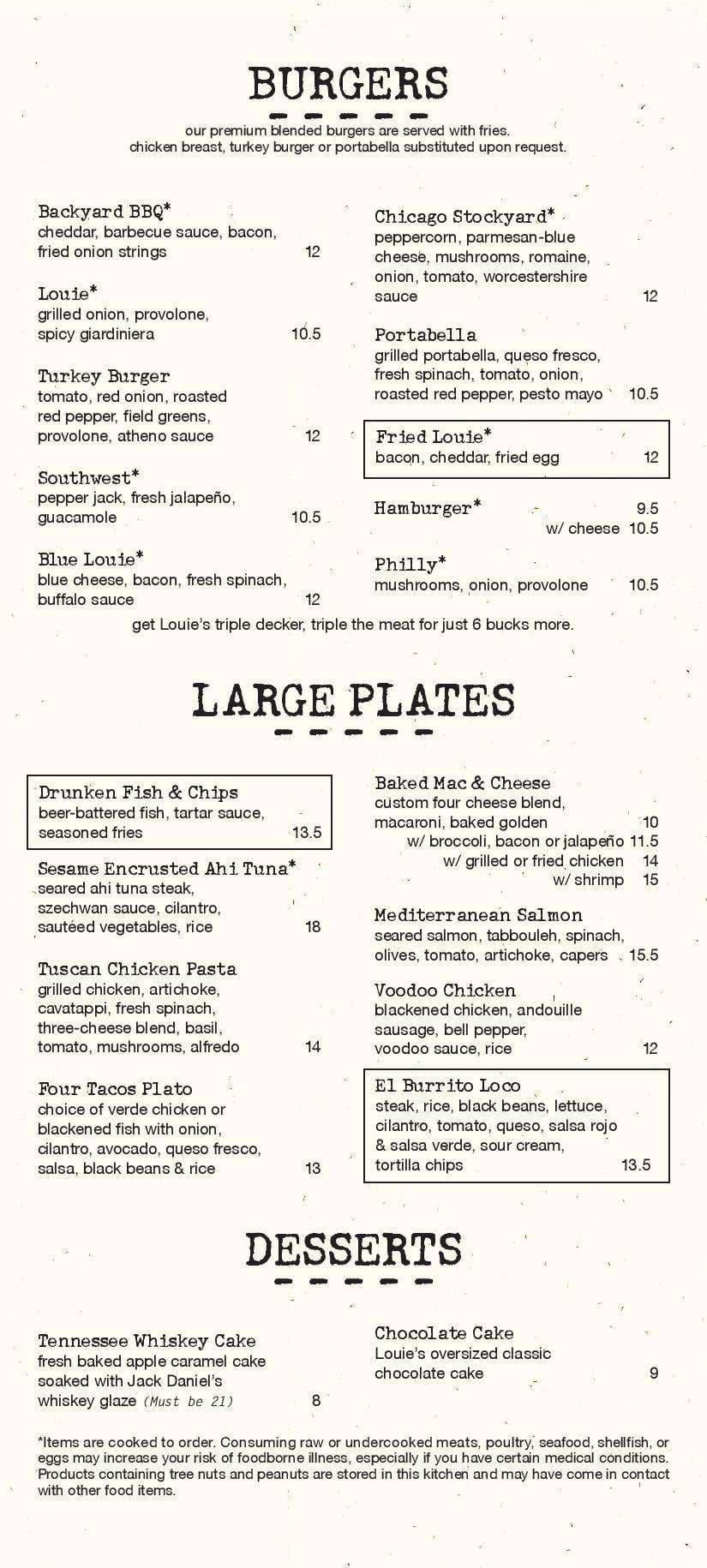 menu at bar louie 3201 n miami ave 210 restaurant prices