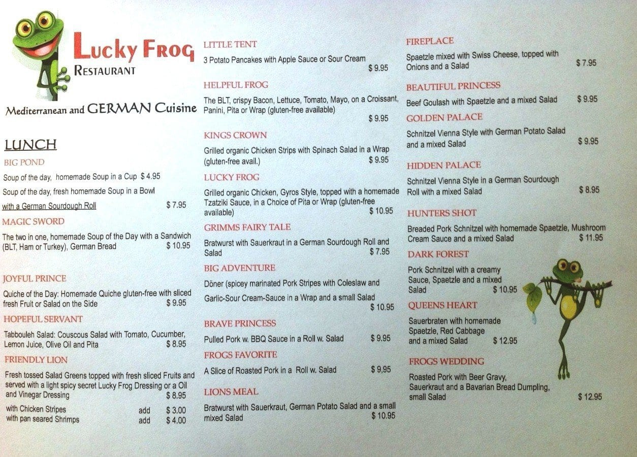 Lucky Frog Restaurant Menu Menu For Lucky Frog Restaurant