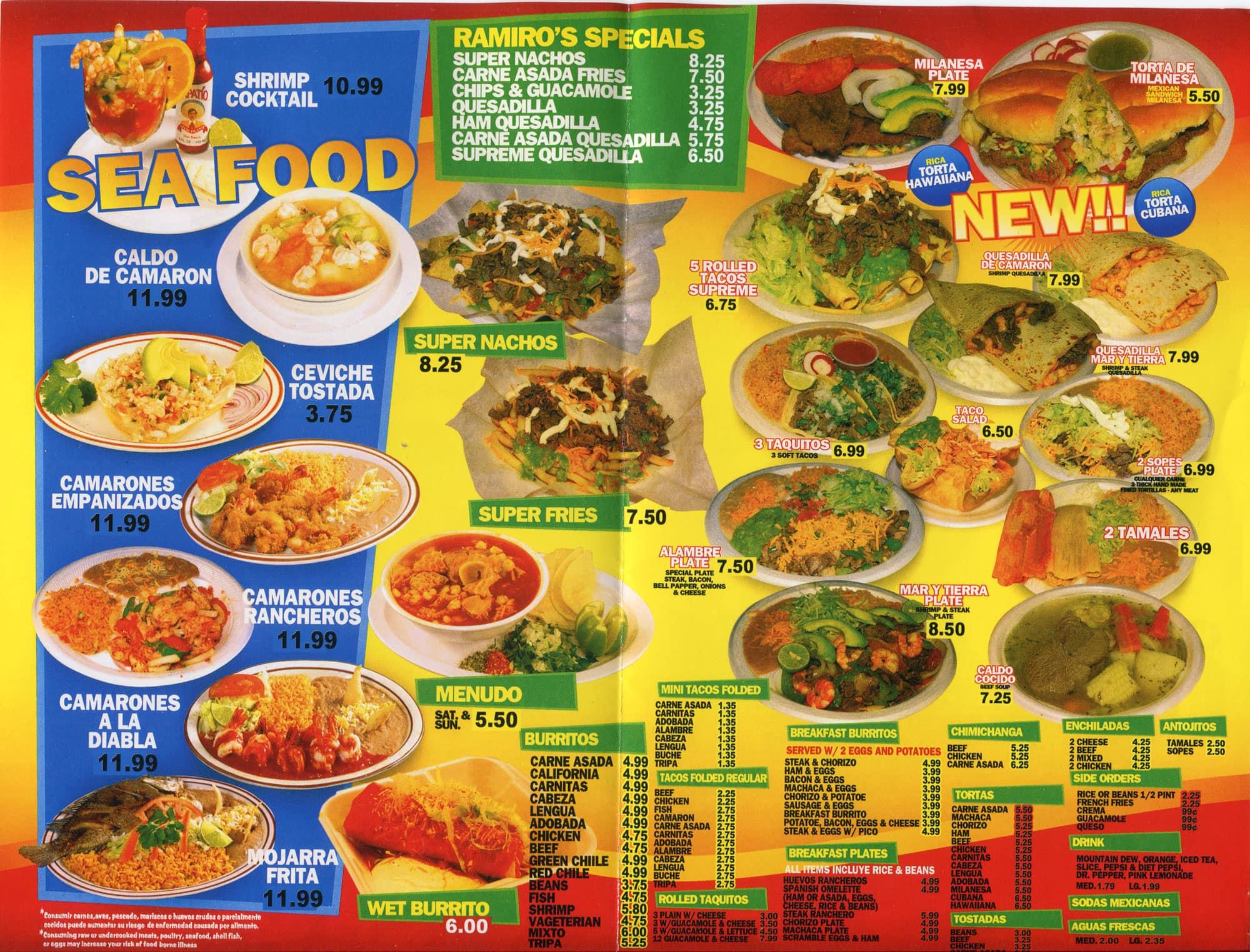 ramiro's mexican food menu - urbanspoon/zomato