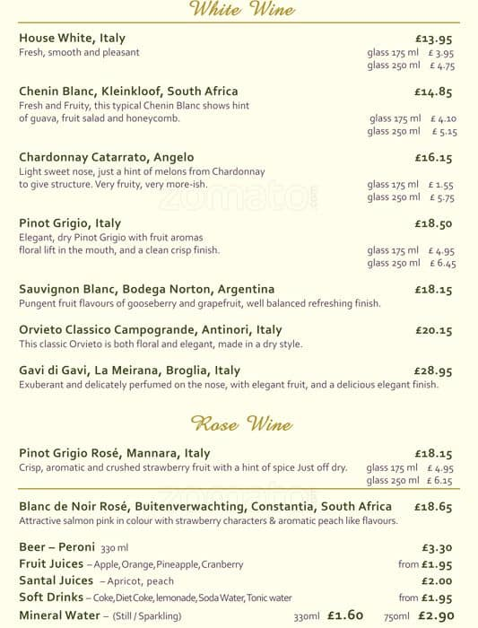 Menu For Olive Garden: Menu At Olive Garden Restaurant, London, 48 Coombe Ln