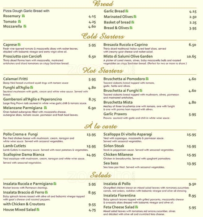 Menu at olive garden restaurant london 48 coombe ln - Olive garden take out menu with prices ...