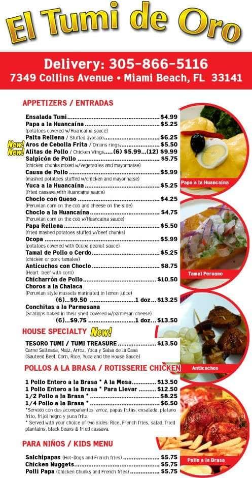 El Tumi Restaurant Menu