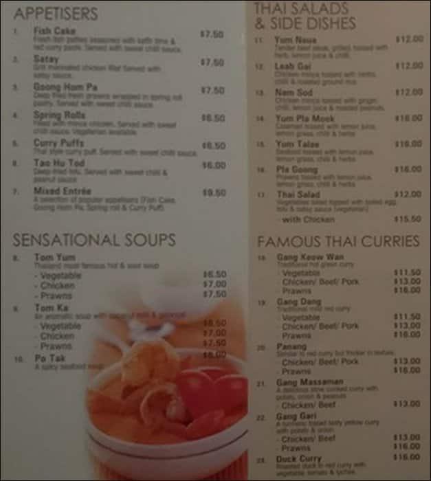 Thai Tables Thai Restaurant Menu - Urbanspoon/Zomato