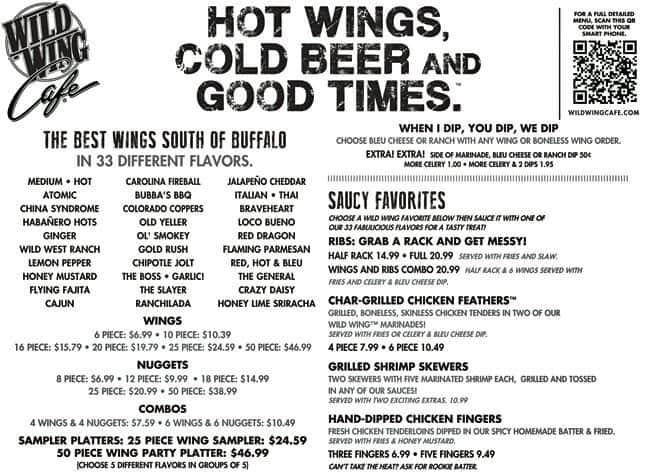 Wild Wing Cafe Menu With Prices