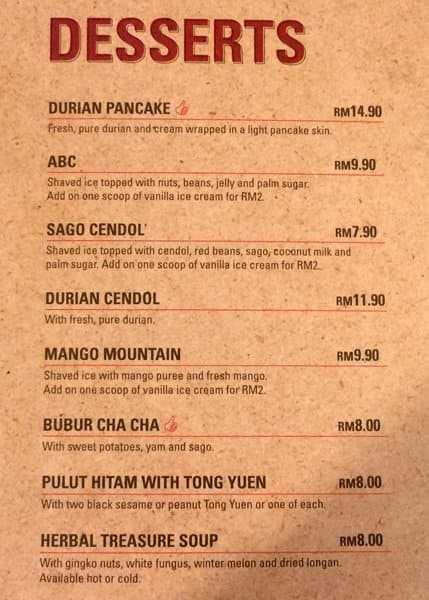 Sepiring Uniquely Malaysian, Mid Valley City Menu