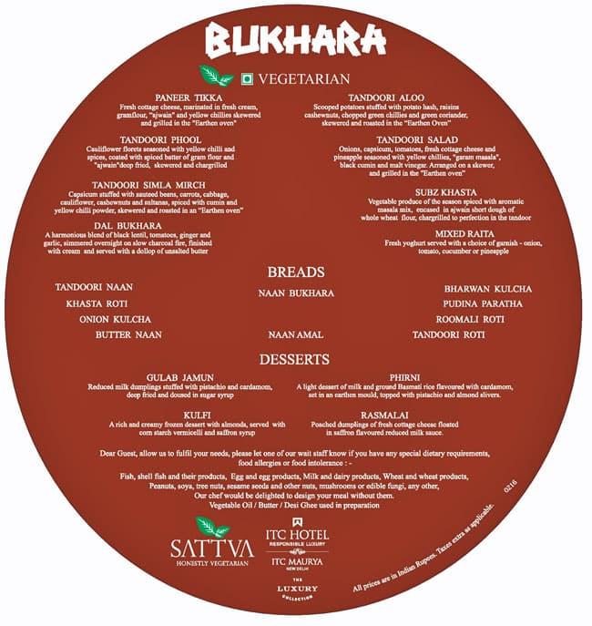 Bukhara - ITC Maurya Menu, Menu for Bukhara - ITC Maurya