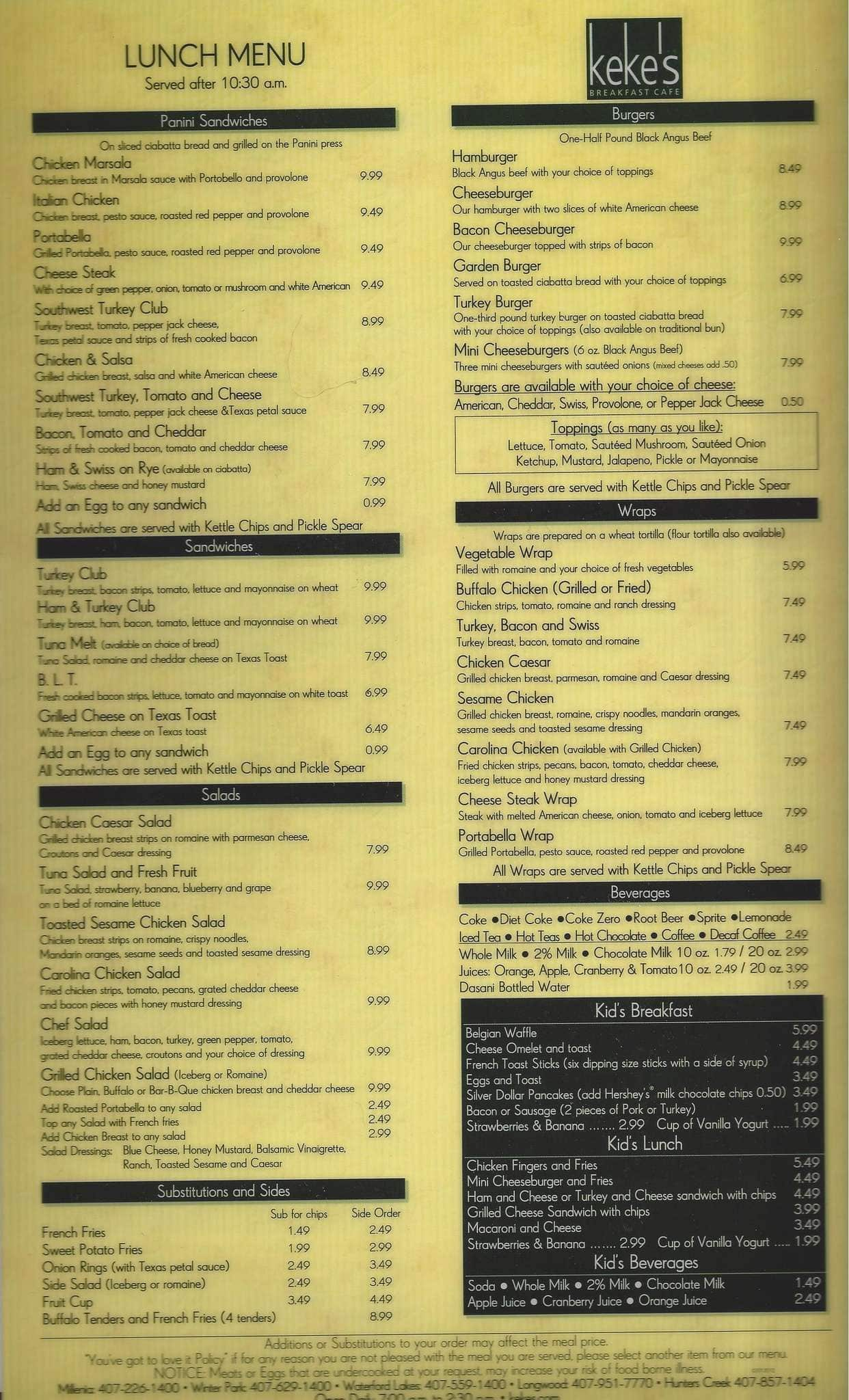 Keke S Breakfast Cafe Menu Prices