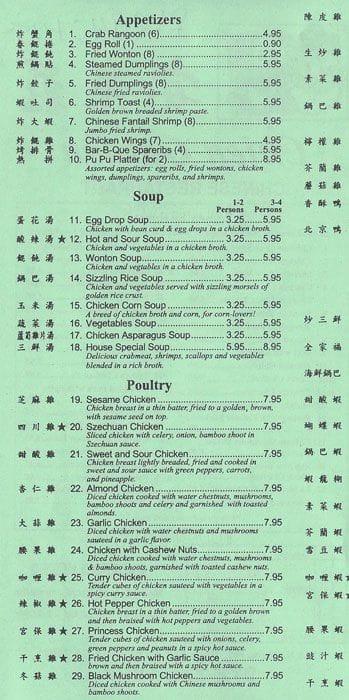 Chien Garden Mandarin Cuisine Menu - Urbanspoon/Zomato