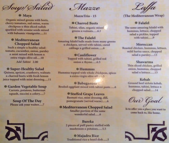 Hummus Kitchen Ues Menu