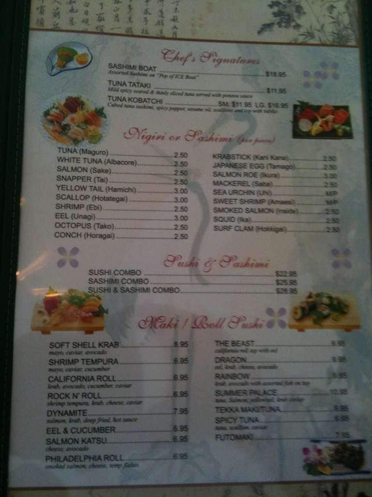 menu at summer palace 13428 summerport village pkwy restaurant