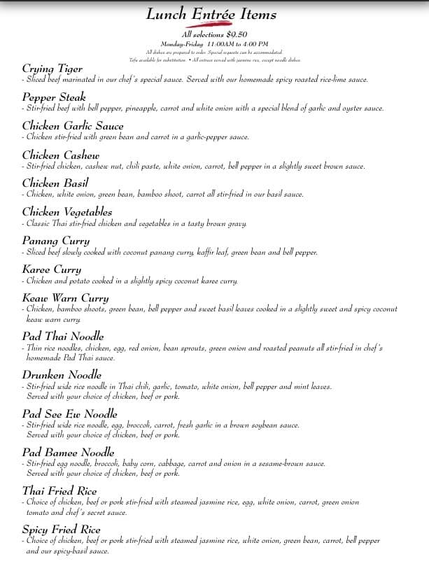 Tara Thai Kitchen, University/Kern Menu