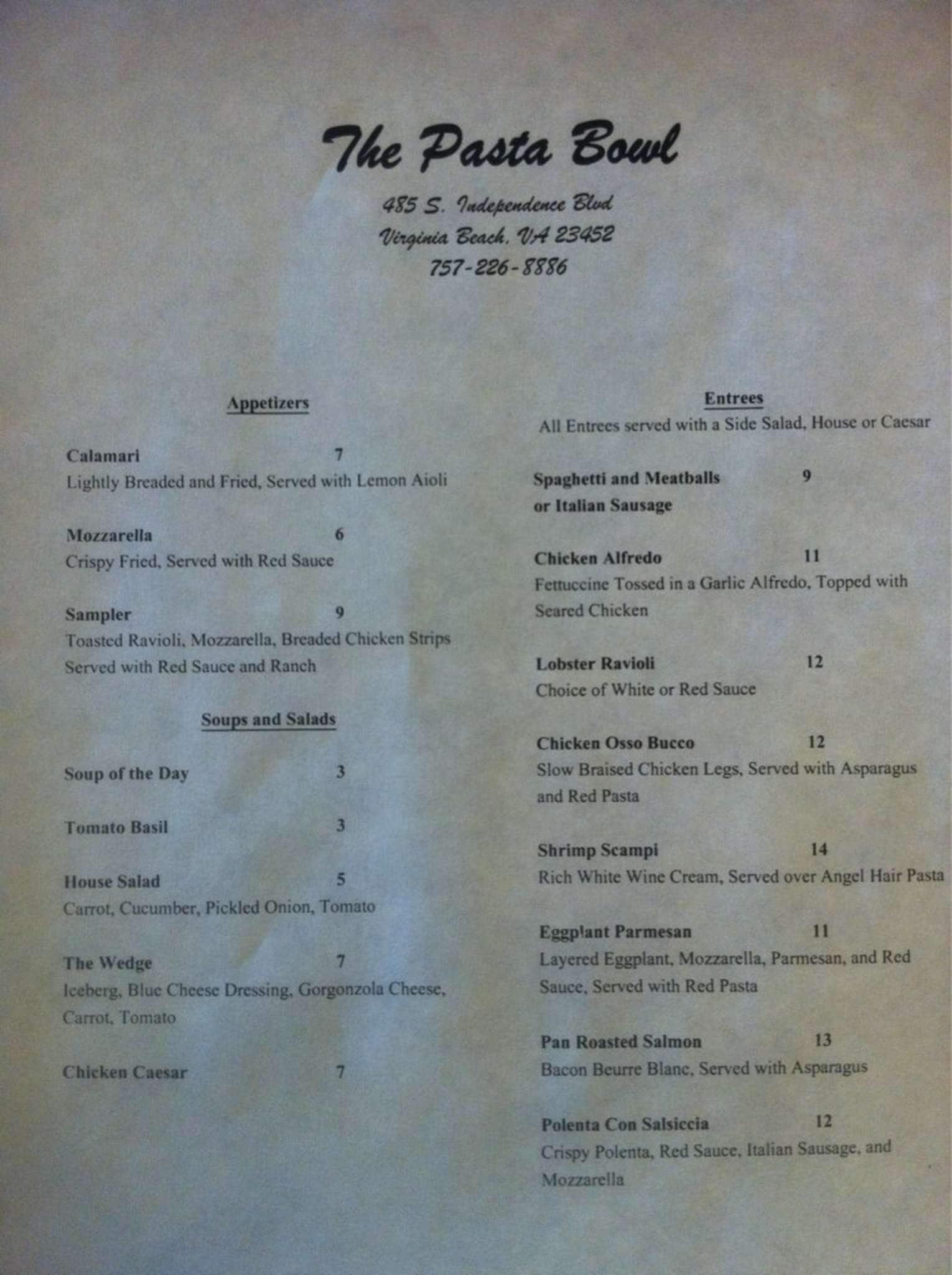 The Pasta Bowl Kempsville Menu & The Pasta Bowl Menu Menu for The Pasta Bowl Kempsville Hampton ...