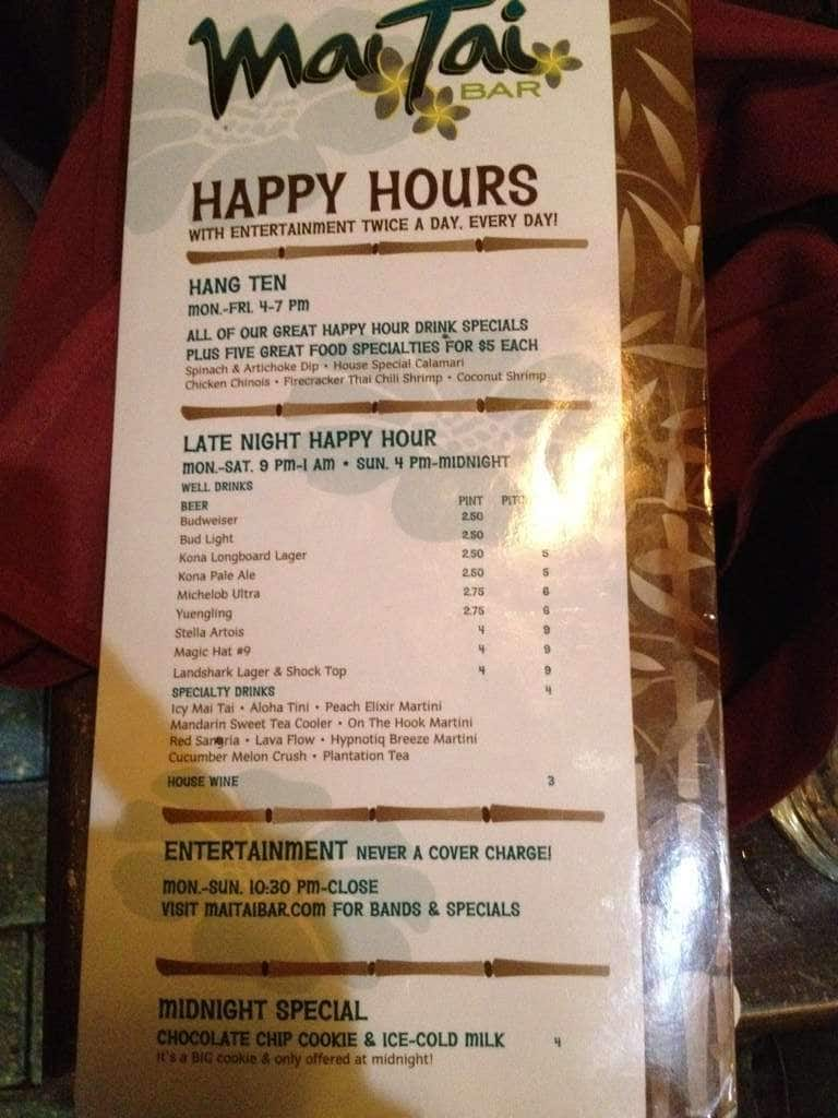 Mai Tai Bar Daytona Beach Menu