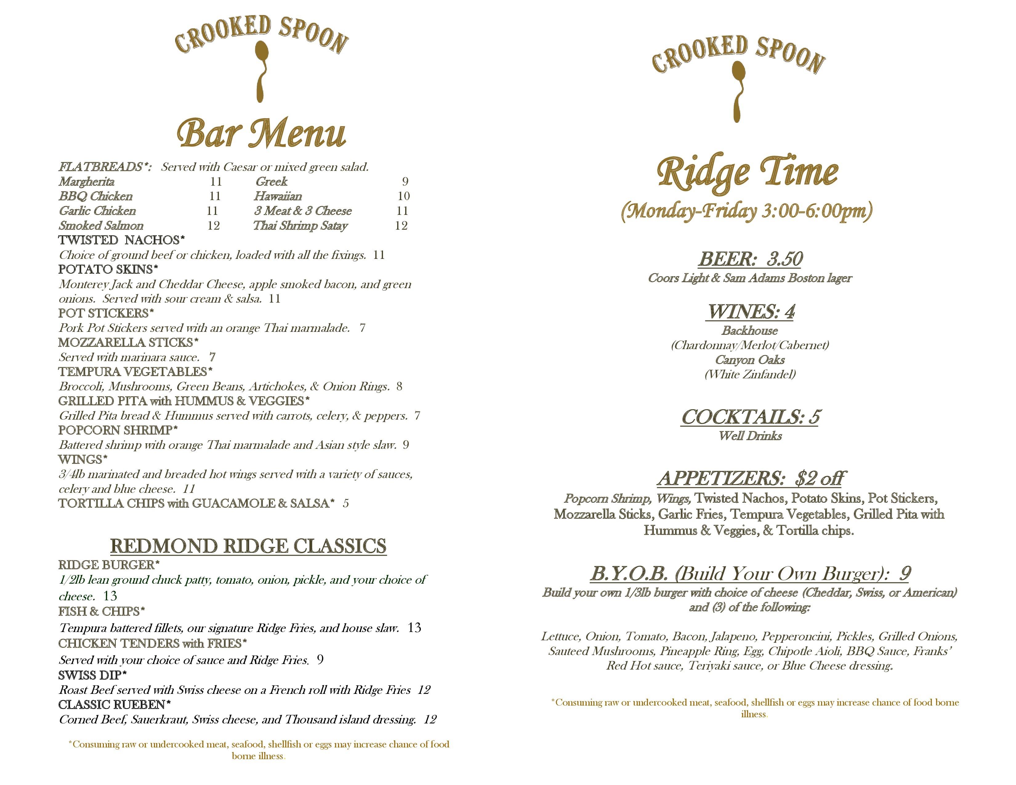 Crooked Spoon Menu All About Spooning