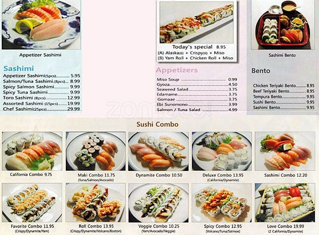 Sushi Train Restaurant Menu