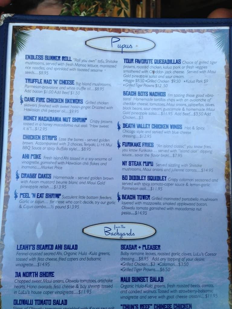 lulu 39 s lahaina surf club grill menu urbanspoon zomato