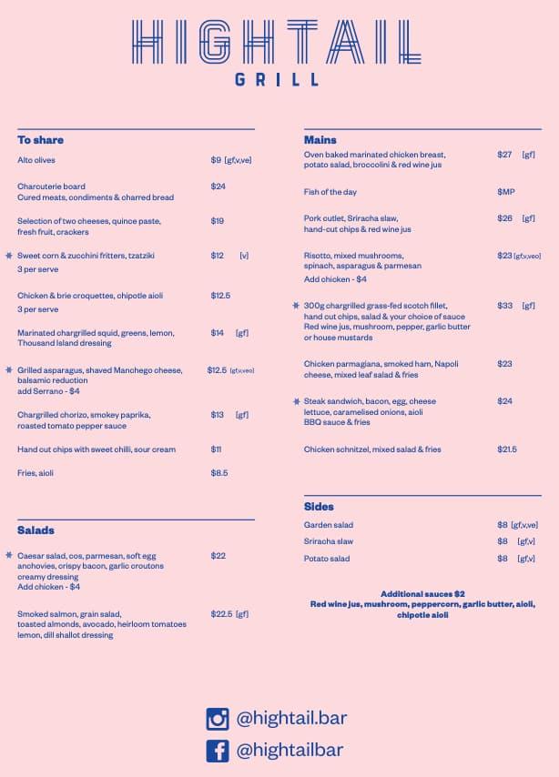 Hightail Bar Menu, Menu for Hightail Bar, Docklands