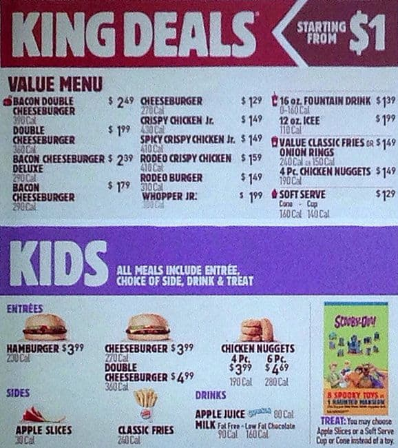 Burger King Menu, Menu for Burger King, Jamaica, New York City ...