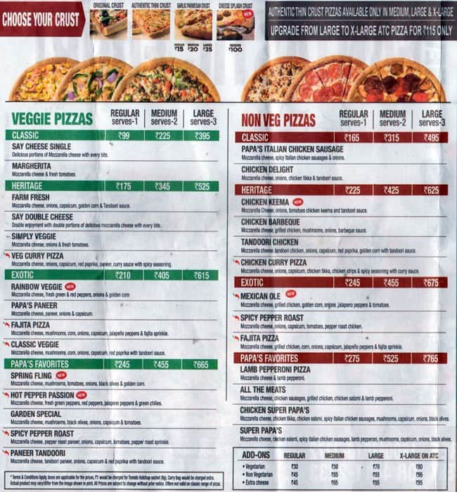 Papa John S Pizza Menu Menu For Papa John S Pizza