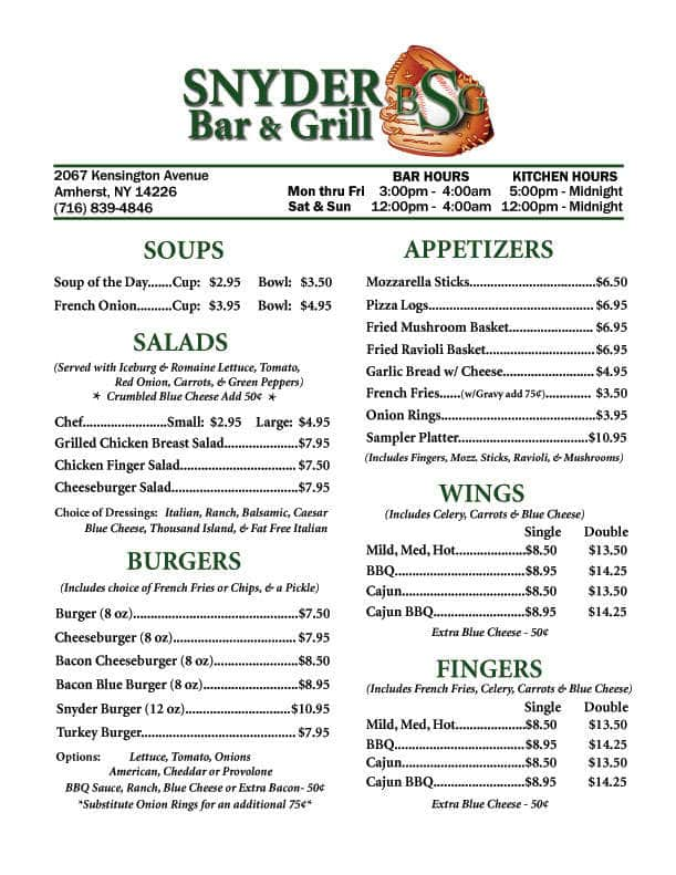 Menu at snyder bar grill buffalo - Menu buffalo grill tarif ...