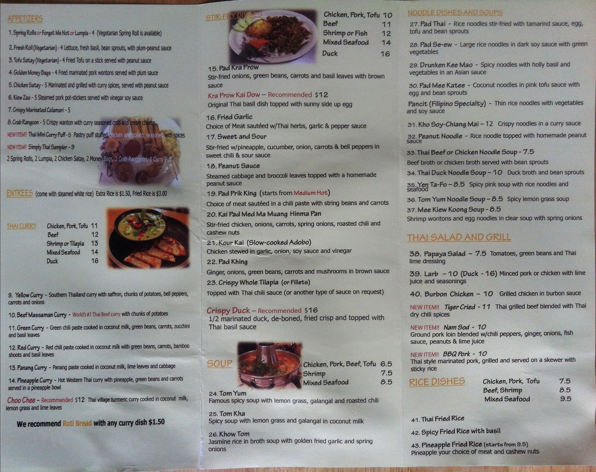 Simply Tasty Thai Menu, Menu for Simply Tasty Thai, Atlantic