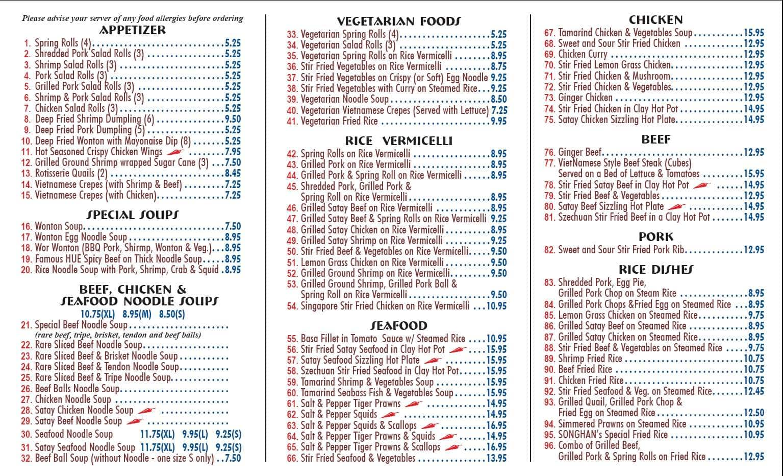 Song Han Vietnamese Restaurant Menu UrbanspoonZomato – Restaurant Menu