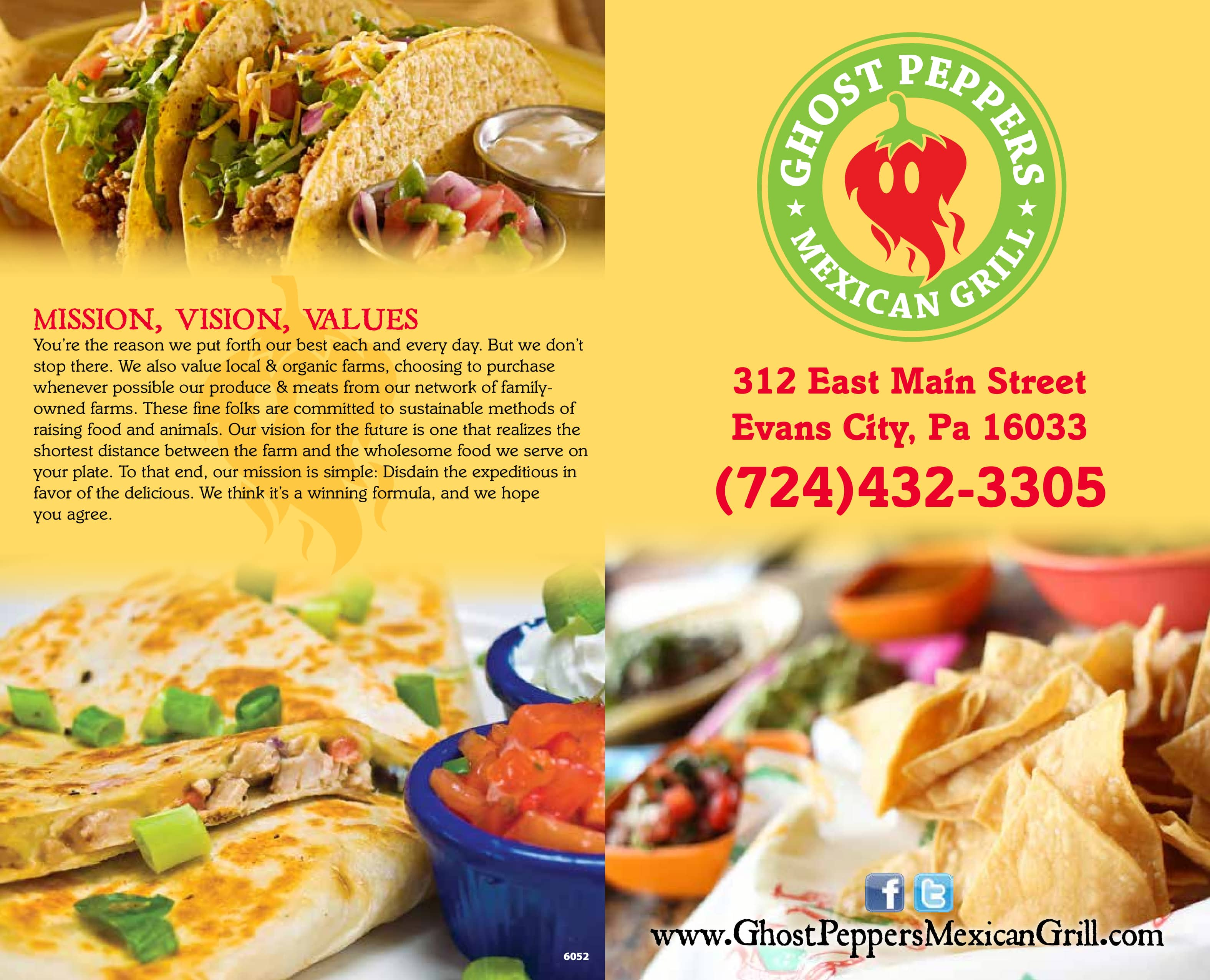 Menu At Ghost Peppers Mexican Grill Restaurant Evans City