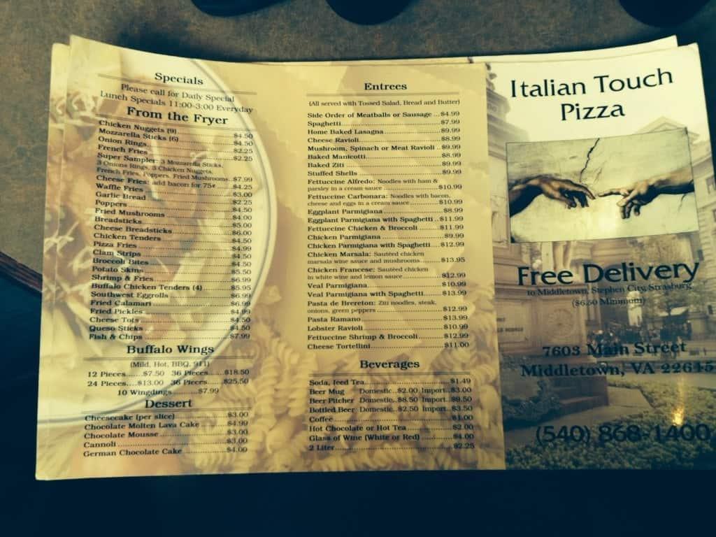 Italian Touch Menu