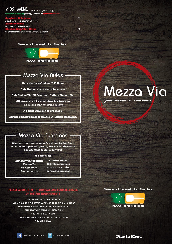 Mezza Via Italian Cuisine Menu