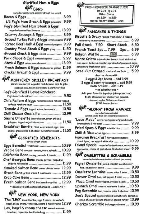 Peg's Glorified Ham N Eggs Menu - Urbanspoon/Zomato