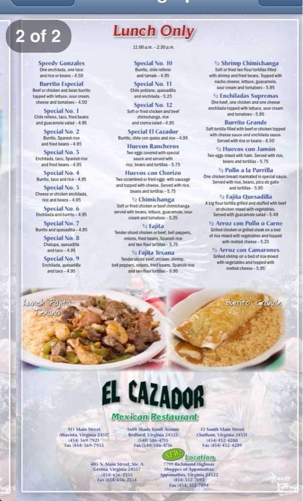 El Cazador Authentic Mexican Food Bedford Menu