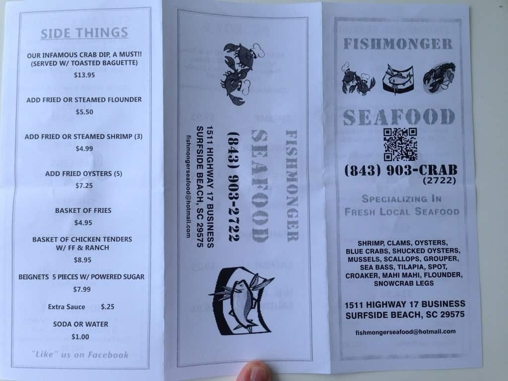 Fishmonger Seafood Surfside Beach Sc Menu