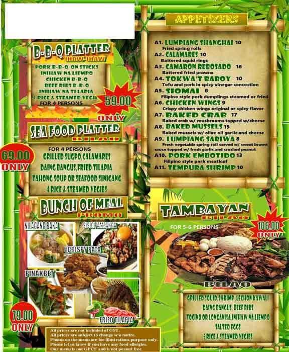 Tambayan at Kainang Filipino Restaurant Menu - Urbanspoon ...