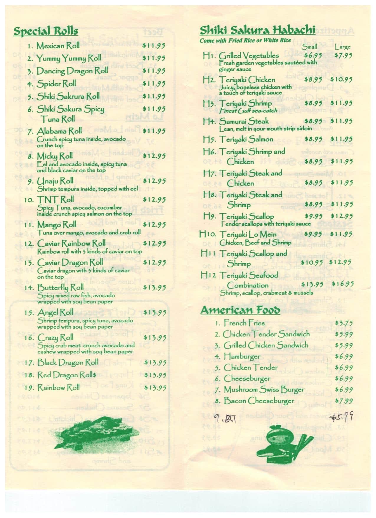 Shiki sakura menu menu for shiki sakura hoover for Asian cuisine hoover al