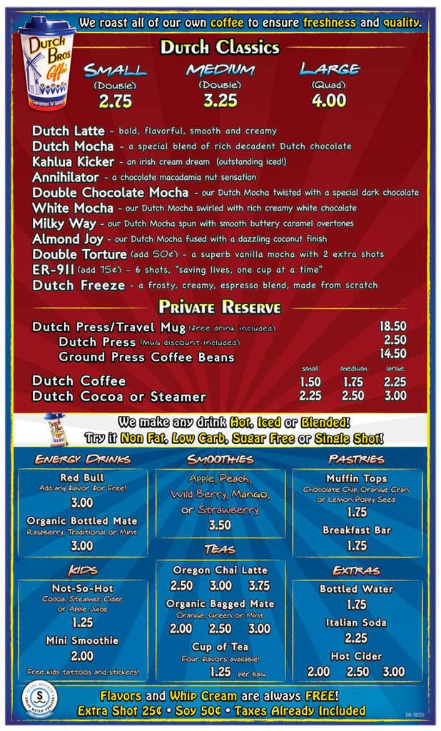 Dutch Bros Menu Food