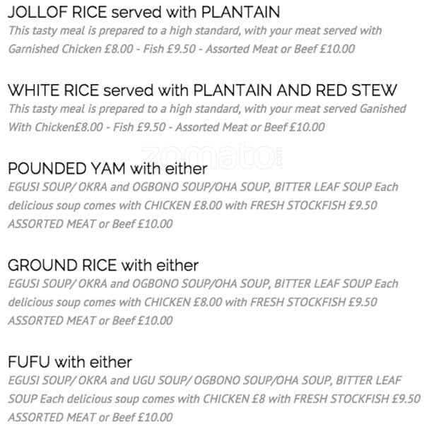 Ulumma-B Nigerian Igbo Restaurant and Bar Menu - Zomato UK