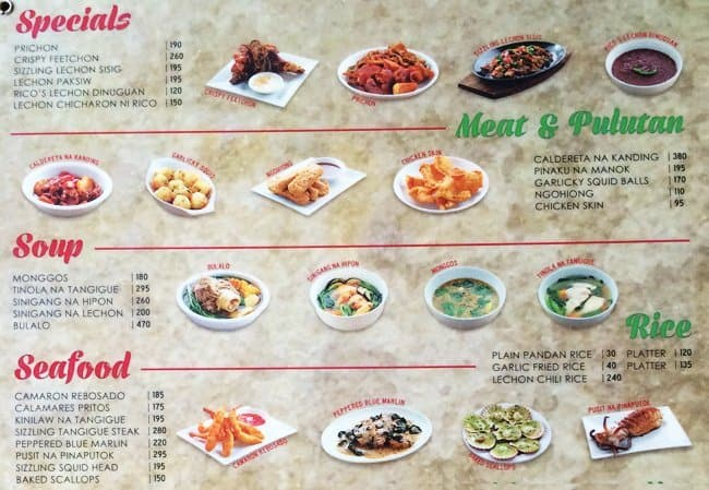Rico'S Lechon Menu, Menu For Rico'S Lechon, Mabolo, Cebu City
