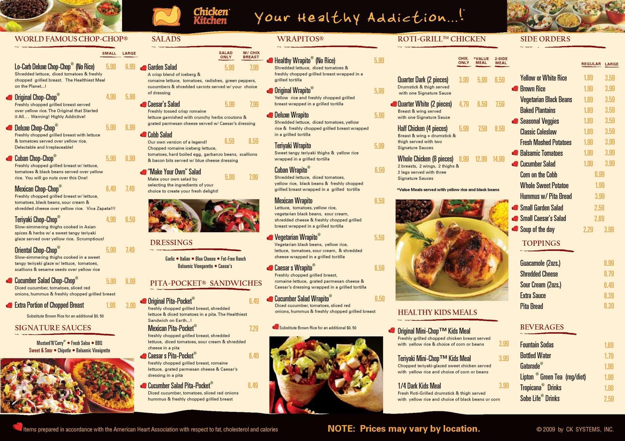 chicken kitchen menu, menu for chicken kitchen, south miami, miami