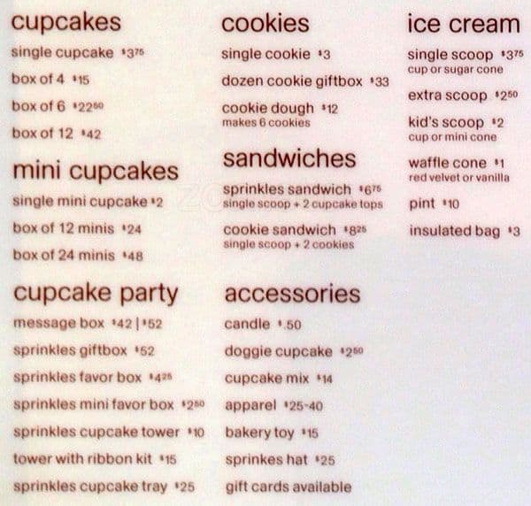 how much do sprinkles cupcakes cost
