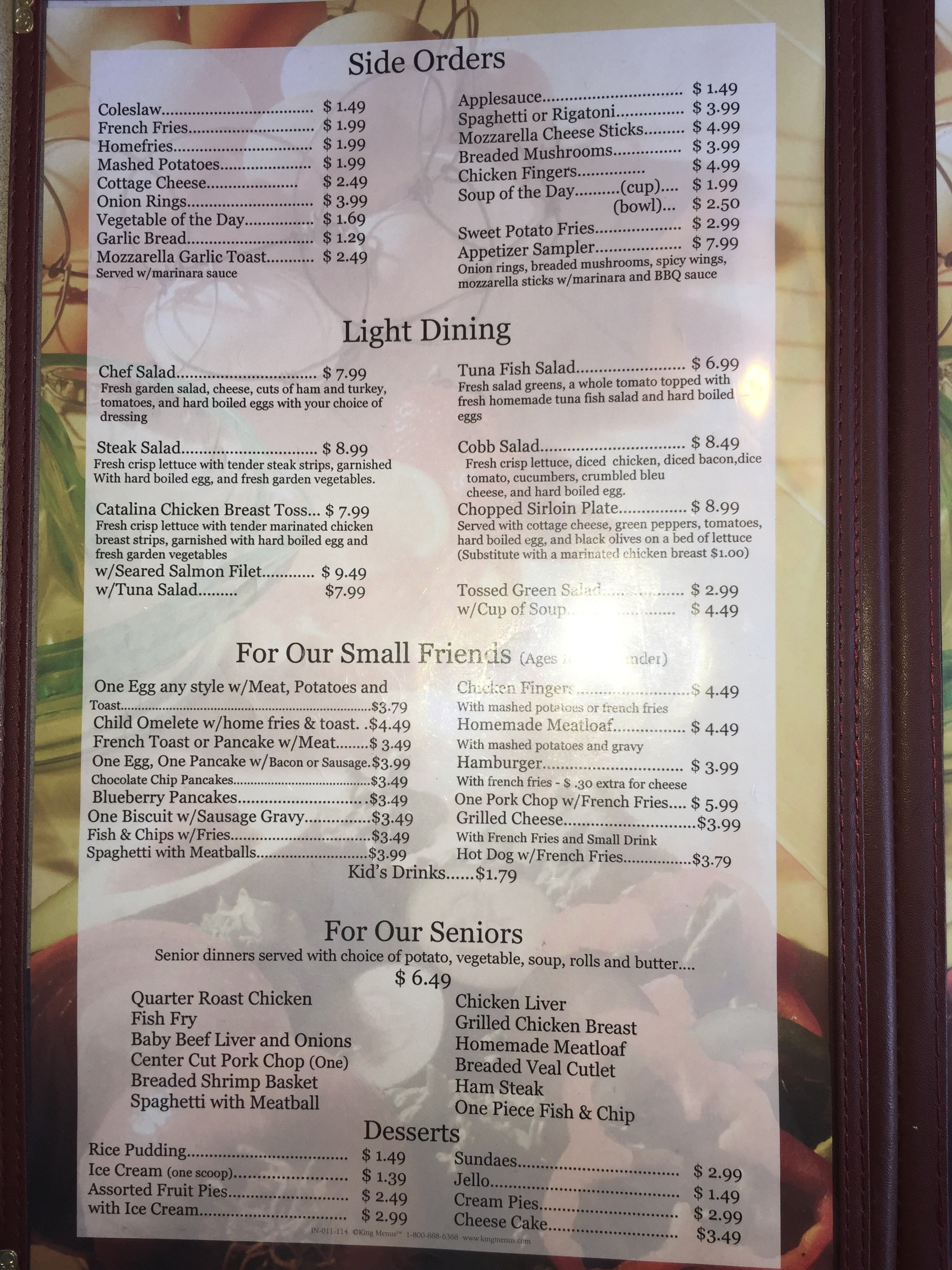 Sammy S Family Restaurant Menu