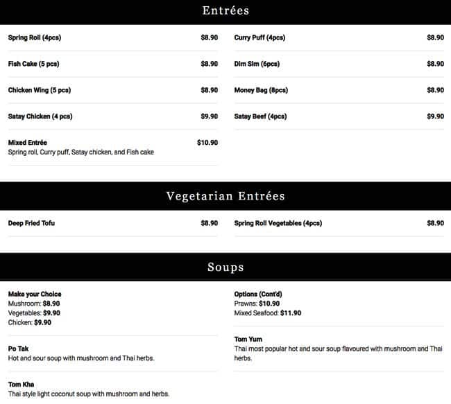 thai square menu menu de thai square leura sydney. Black Bedroom Furniture Sets. Home Design Ideas