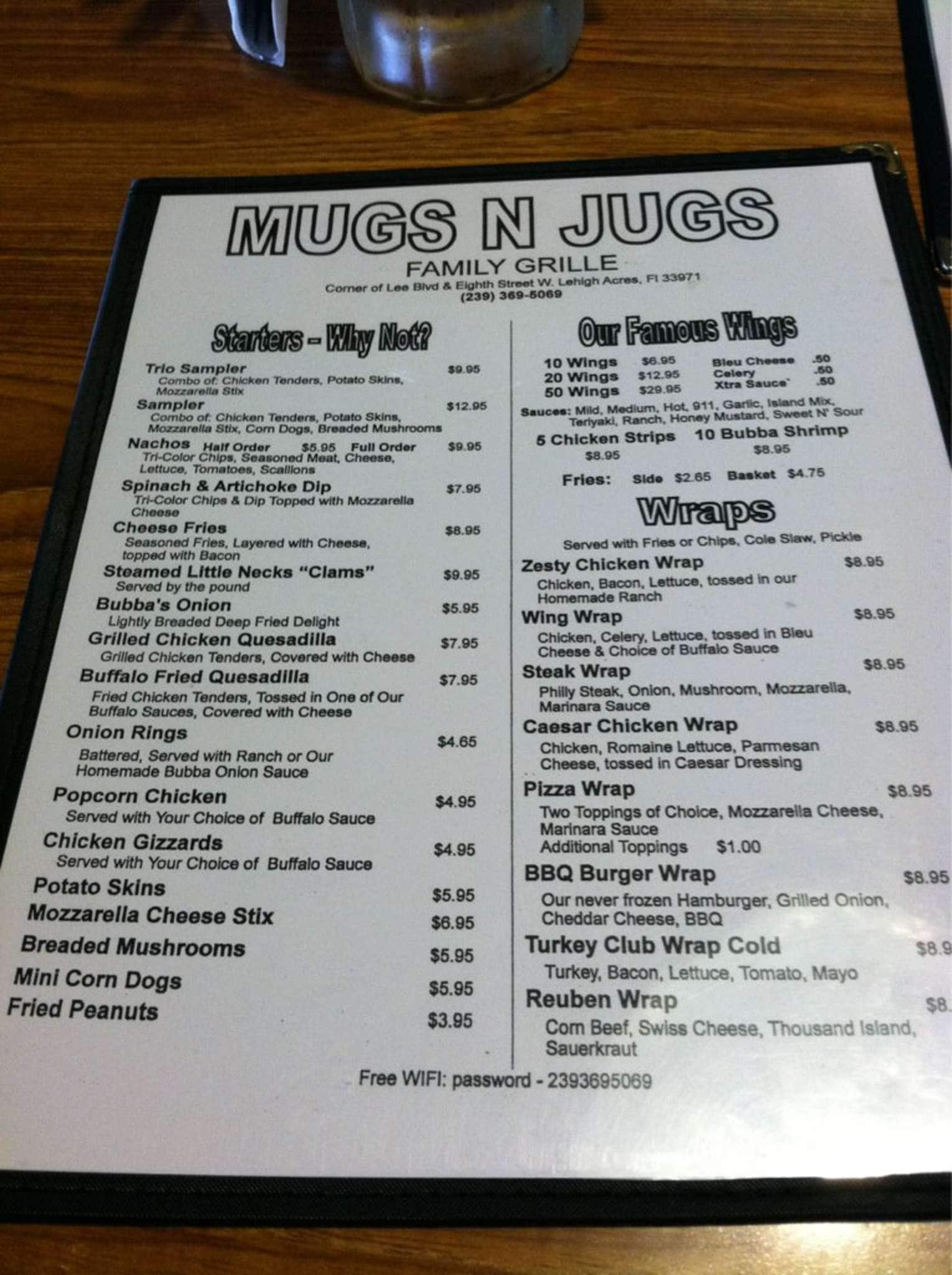 Image Result For Mugs N Jugs Menu
