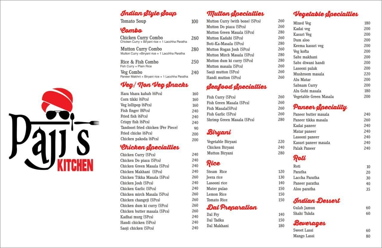 Pajis kitchen menu