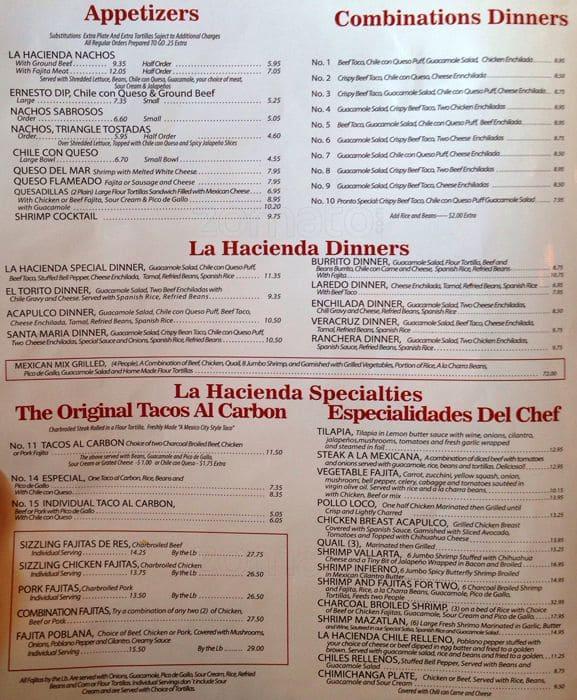 La Hacienda Mexican Restaurant Menu Prices