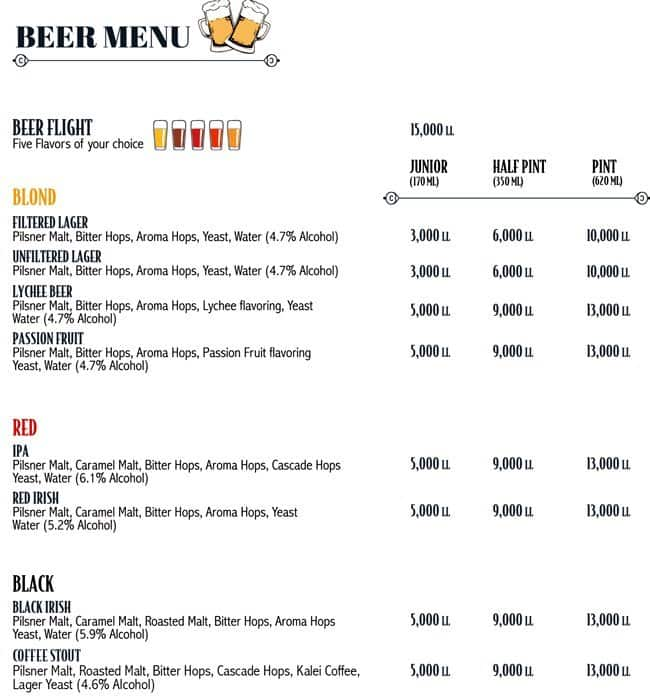 Colonel Beer Menu Menu For Colonel Beer Batroun Batroun District