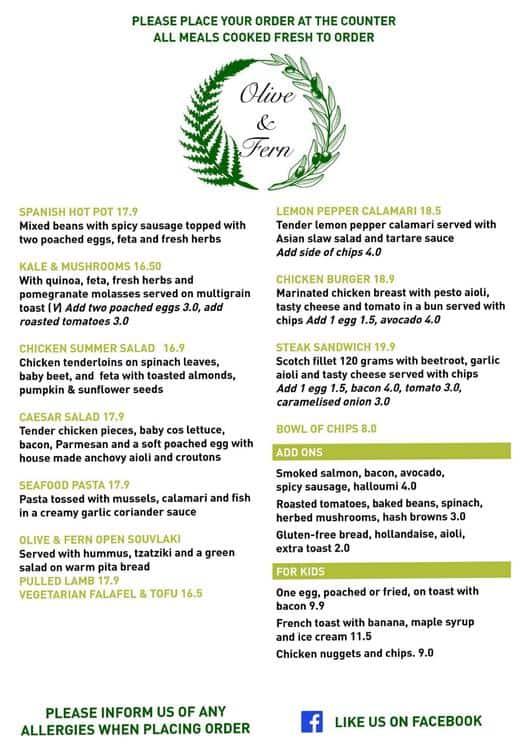 olive fern cafe menu menu for olive fern cafe frankston