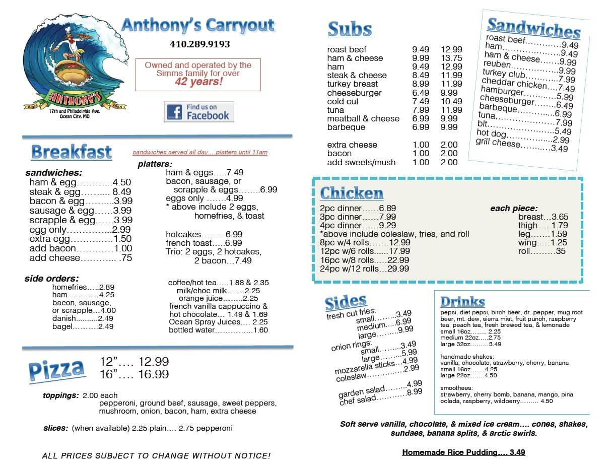 Anthony 39 s carryout menu menu for anthony 39 s carryout for Carryout menu
