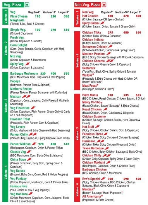 Eva S Pizza Menu Menu For Eva S Pizza Malad West Mumbai