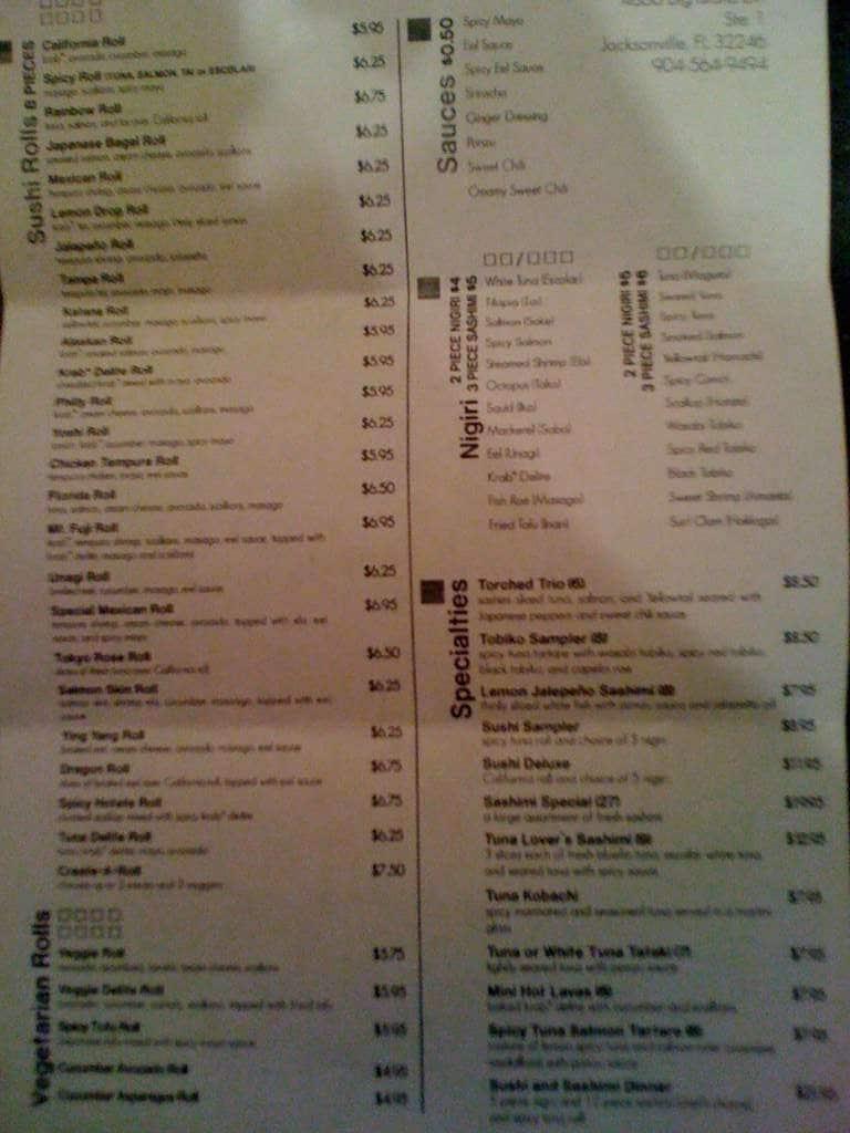 Bento Cafe Sushi Prices